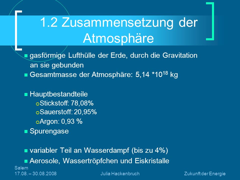 1.2 Zusammensetzung der Atmosphäre