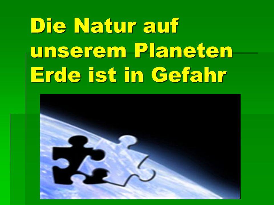 Die Natur auf unserem Planeten Erde ist in Gefahr