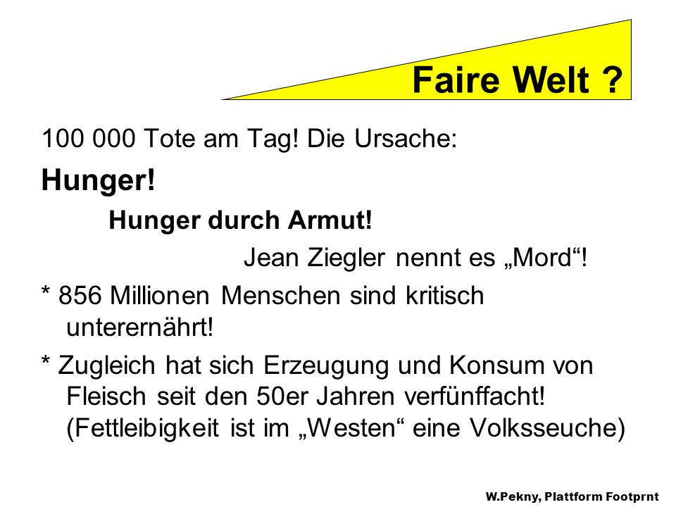 Faire Welt Hunger! Tote am Tag! Die Ursache: