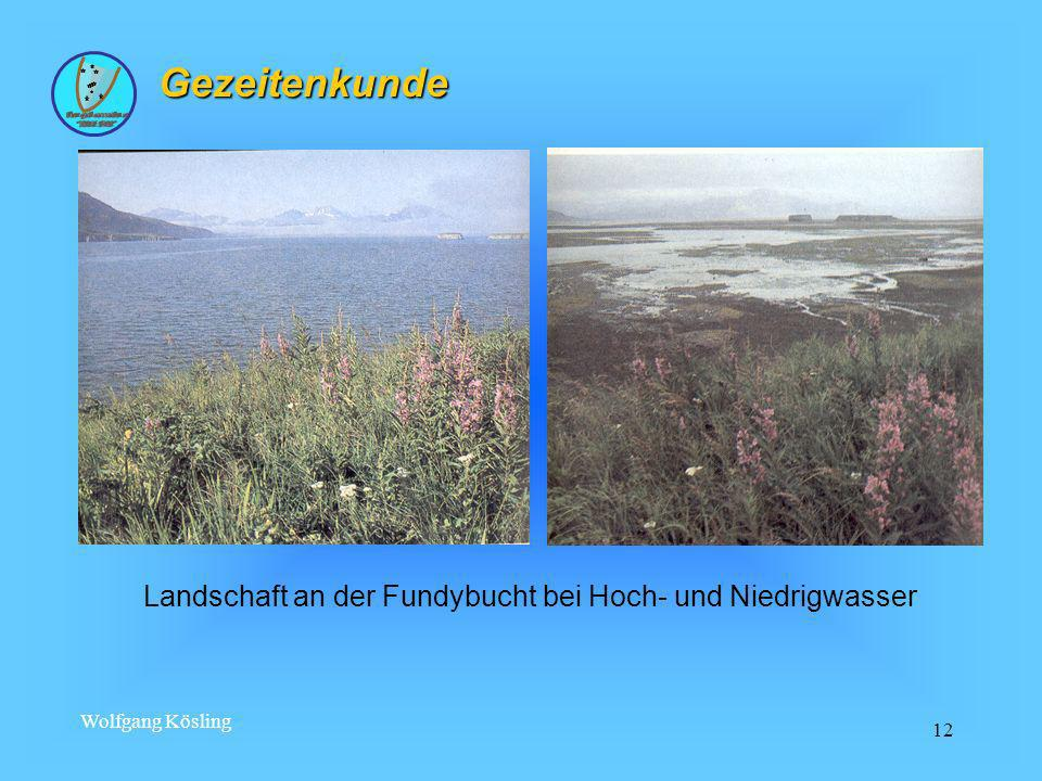 Landschaft an der Fundybucht bei Hoch- und Niedrigwasser