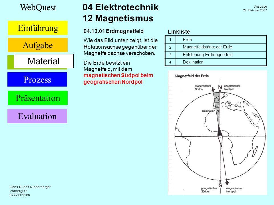 Material 04.13.01 Erdmagnetfeld Linkliste