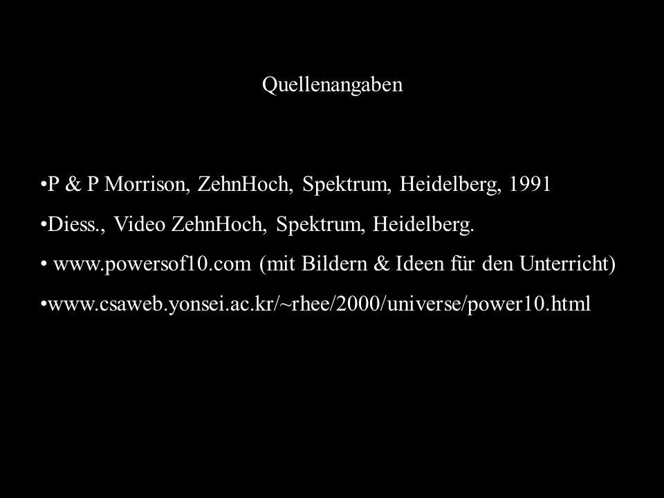 Quellenangaben P & P Morrison, ZehnHoch, Spektrum, Heidelberg, 1991. Diess., Video ZehnHoch, Spektrum, Heidelberg.