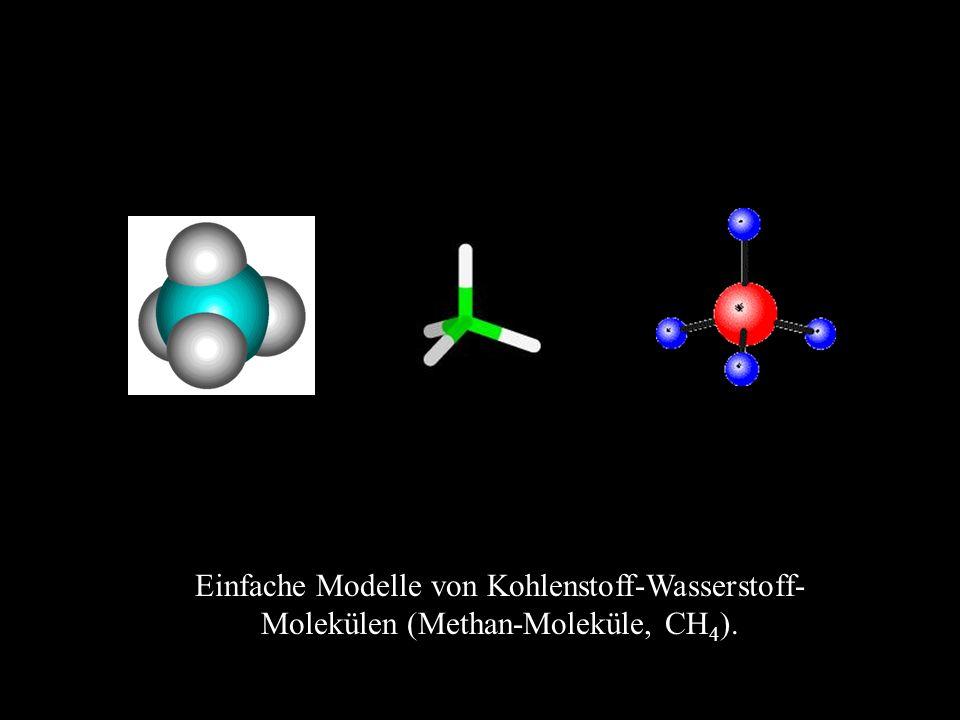 Einfache Modelle von Kohlenstoff-Wasserstoff-Molekülen (Methan-Moleküle, CH4).