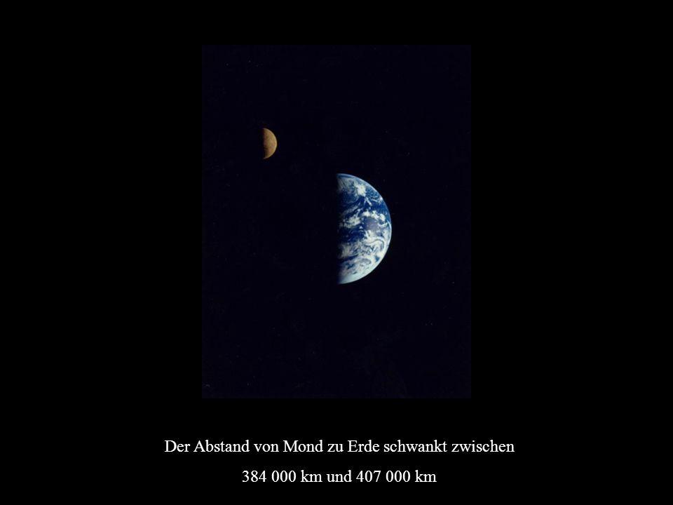 Der Abstand von Mond zu Erde schwankt zwischen