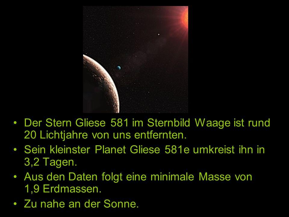 Der Stern Gliese 581 im Sternbild Waage ist rund 20 Lichtjahre von uns entfernten.