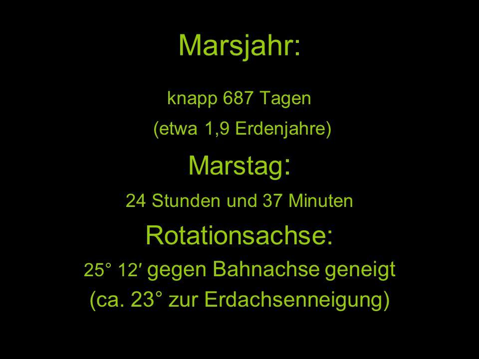 Marsjahr: Marstag: Rotationsachse: (ca. 23° zur Erdachsenneigung)