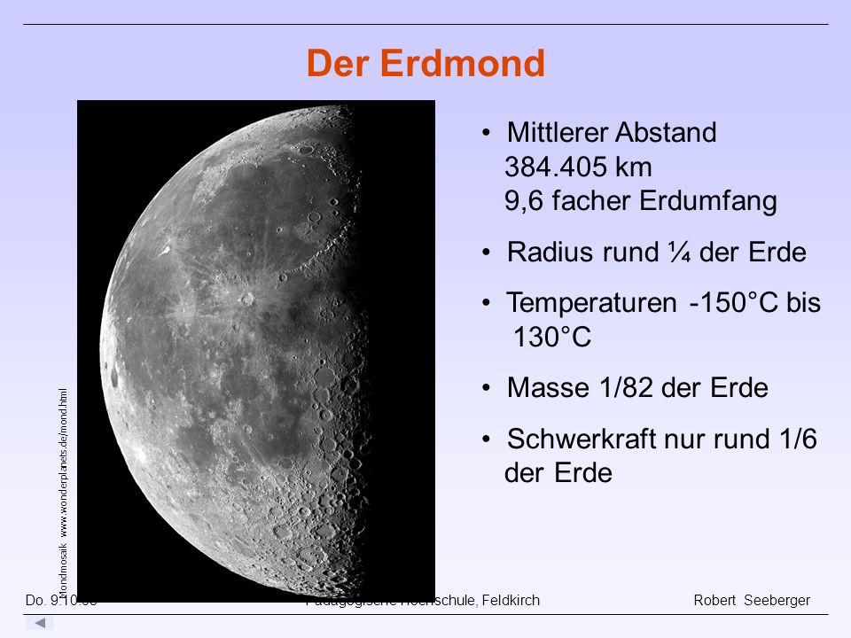 Der Erdmond Mittlerer Abstand 384.405 km 9,6 facher Erdumfang