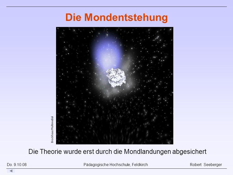 Die Theorie wurde erst durch die Mondlandungen abgesichert