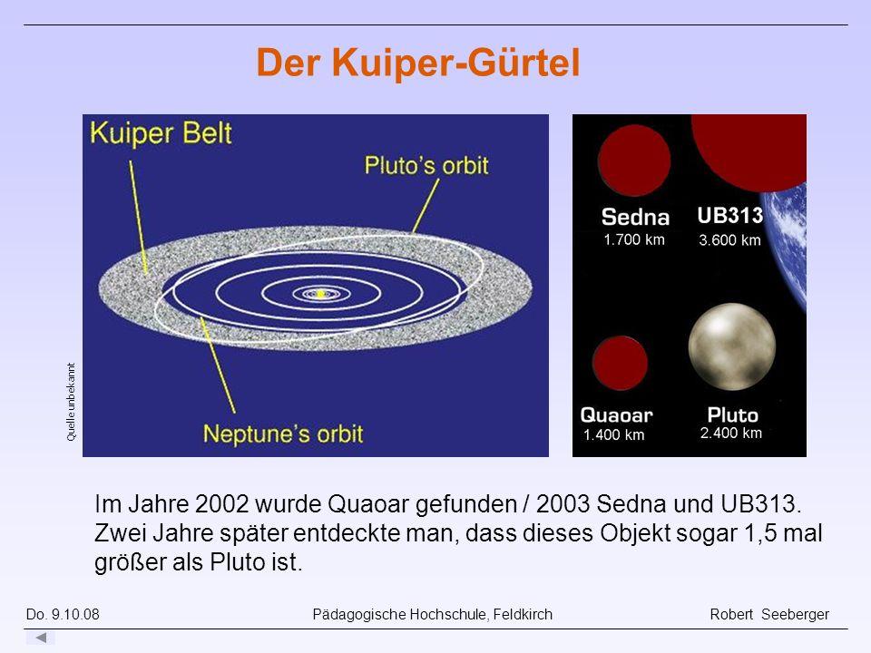 Der Kuiper-Gürtel Quelle unbekannt. Schätzung: mind. 70.000 transneptunische Objekte (TNO) > 100 km.