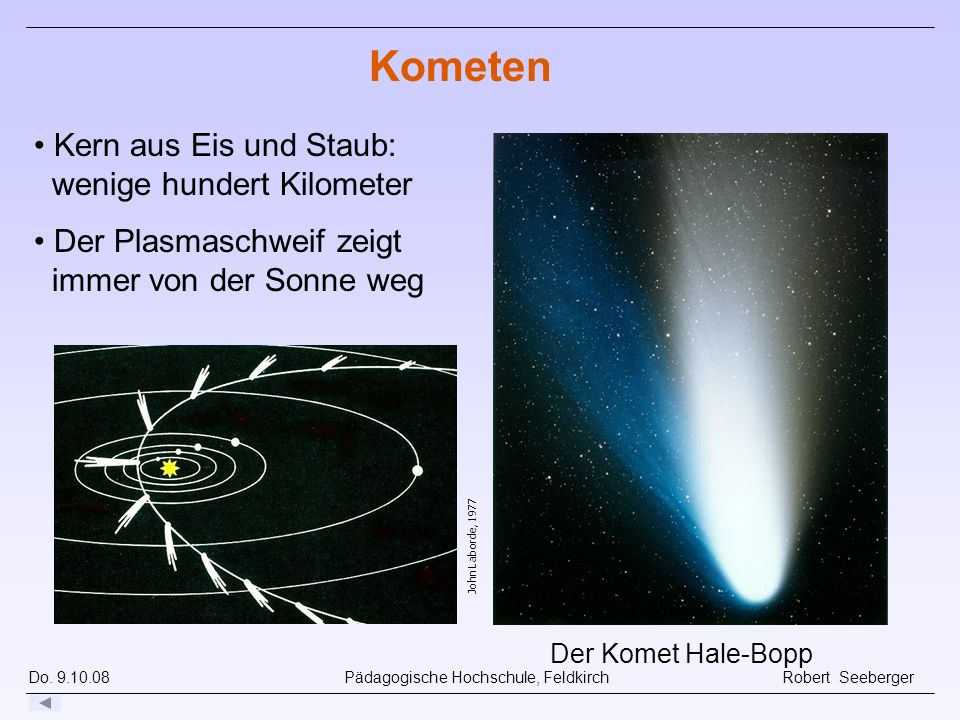 Kometen Kern aus Eis und Staub: wenige hundert Kilometer