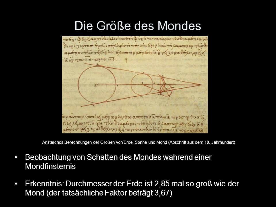 Die Größe des Mondes Aristarchos Berechnungen der Größen von Erde, Sonne und Mond (Abschrift aus dem 10. Jahrhundert)