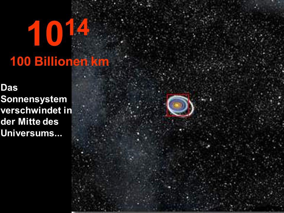 1014 100 Billionen km Das Sonnensystem verschwindet in der Mitte des Universums...