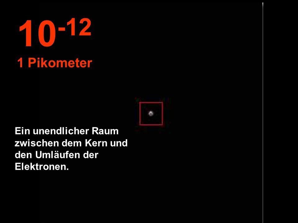 10-12 1 Pikometer Ein unendlicher Raum zwischen dem Kern und den Umläufen der Elektronen.