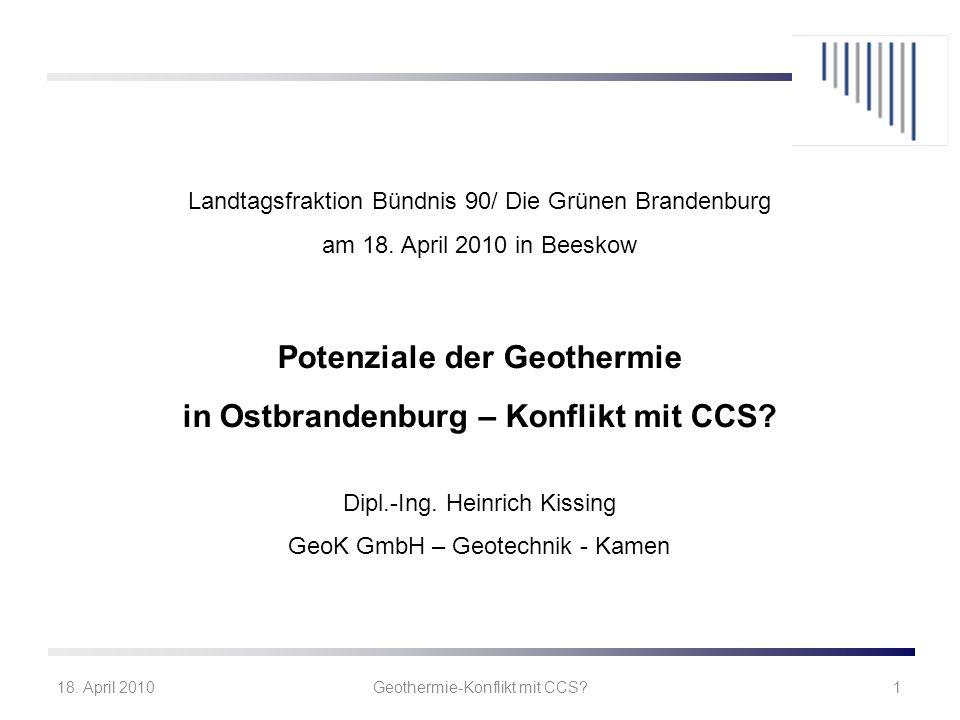 Potenziale der Geothermie in Ostbrandenburg – Konflikt mit CCS