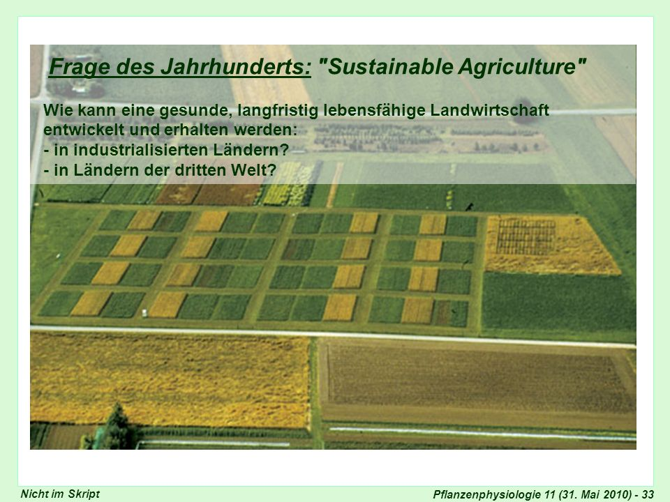 Frage des Jahrhunderts: Sustainable Agriculture