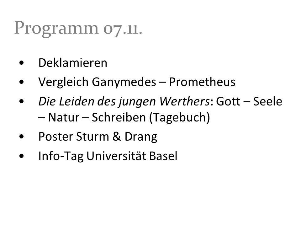 Programm 07.11. Deklamieren Vergleich Ganymedes – Prometheus
