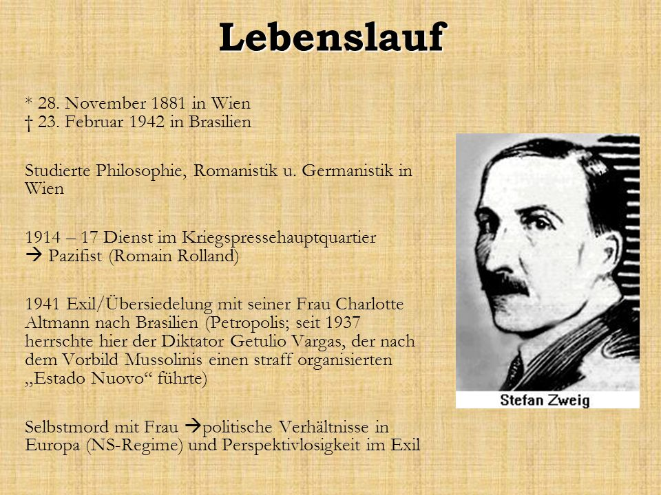 Lebenslauf * 28. November 1881 in Wien † 23. Februar 1942 in Brasilien