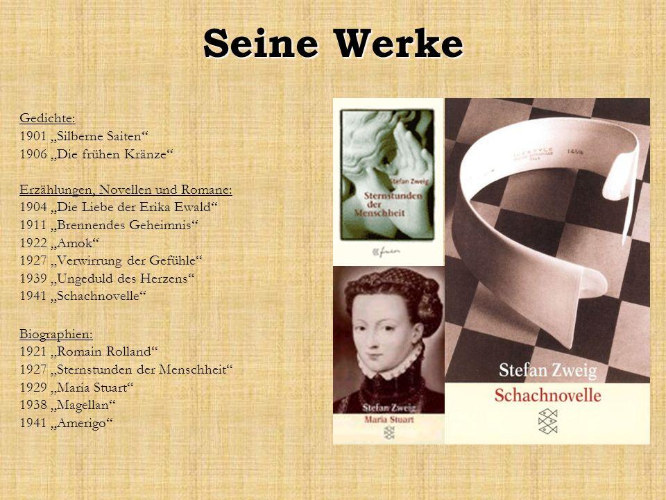 """Seine Werke Gedichte: 1901 """"Silberne Saiten 1906 """"Die frühen Kränze"""