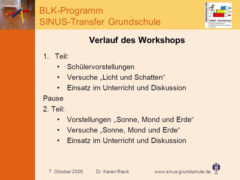 Verlauf des Workshops Teil: Schülervorstellungen