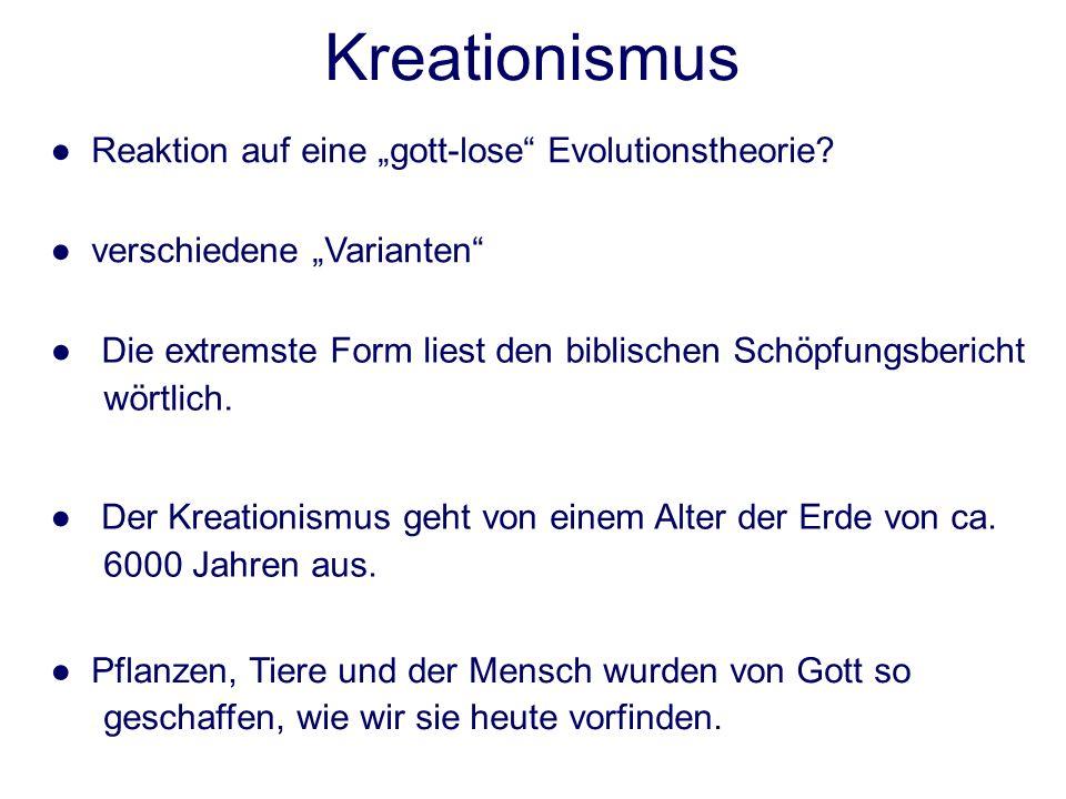 """Kreationismus ● Reaktion auf eine """"gott-lose Evolutionstheorie"""