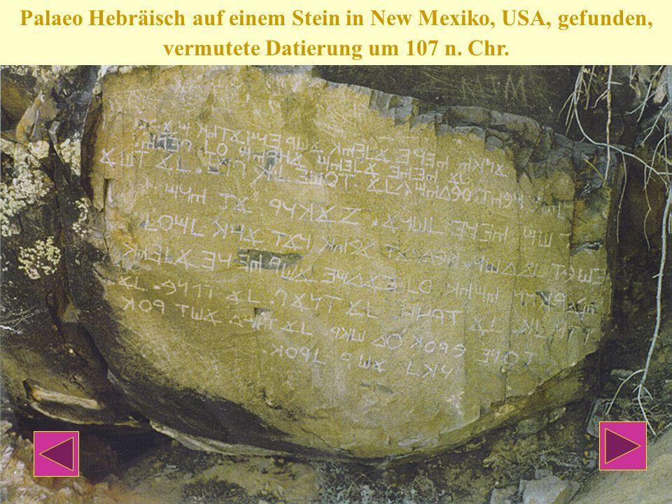 Palaeo Hebräisch auf einem Stein in New Mexiko, USA, gefunden, vermutete Datierung um 107 n. Chr.