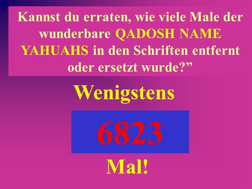 Kannst du erraten, wie viele Male der wunderbare QADOSH NAME YAHUAHS in den Schriften entfernt oder ersetzt wurde