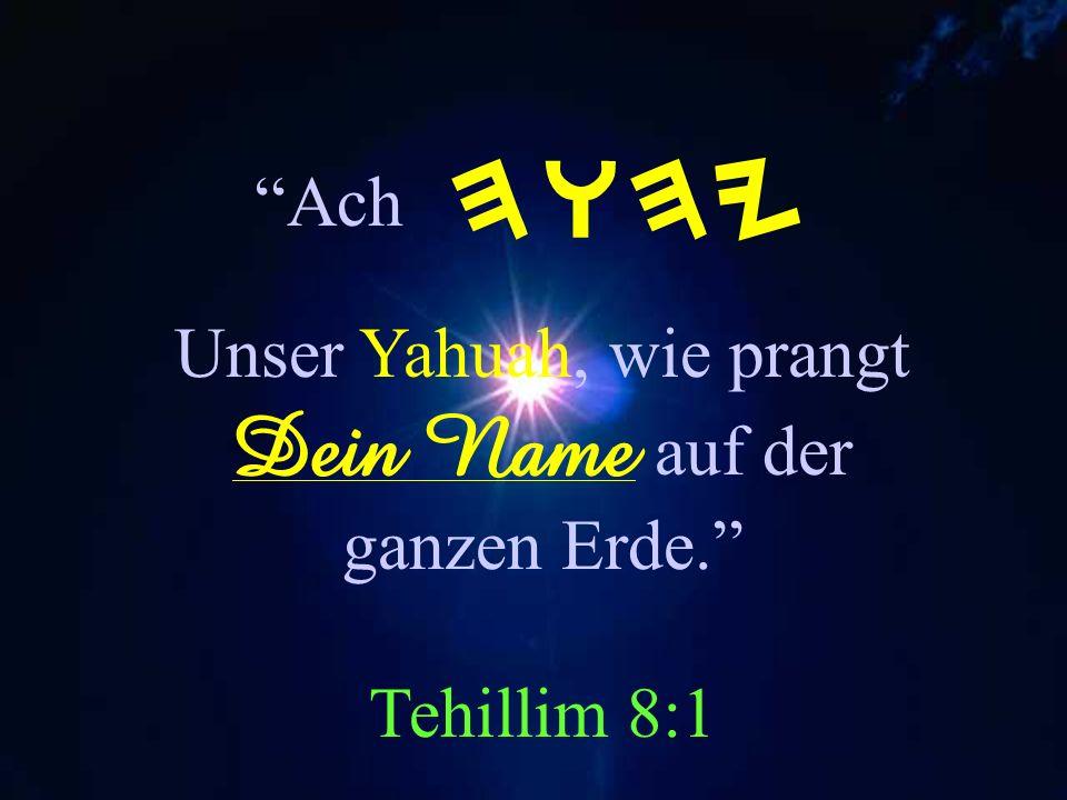 Unser Yahuah, wie prangt Dein Name auf der ganzen Erde. Tehillim 8:1