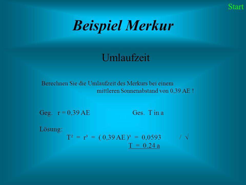 Beispiel Merkur Umlaufzeit Start Geg. r = 0,39 AE Ges. T in a Lösung:
