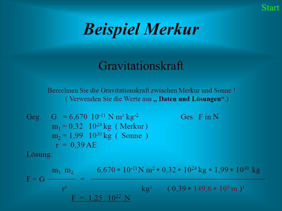 Beispiel Merkur Gravitationskraft Start