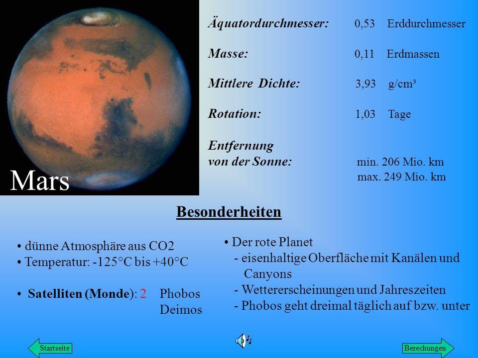 Mars Besonderheiten Äquatordurchmesser: 0,53 Erddurchmesser