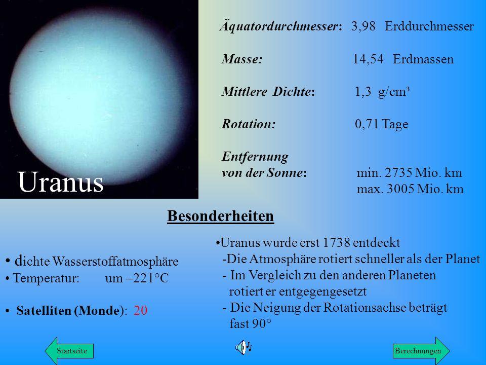 Uranus Äquatordurchmesser: 3,98 Erddurchmesser Besonderheiten
