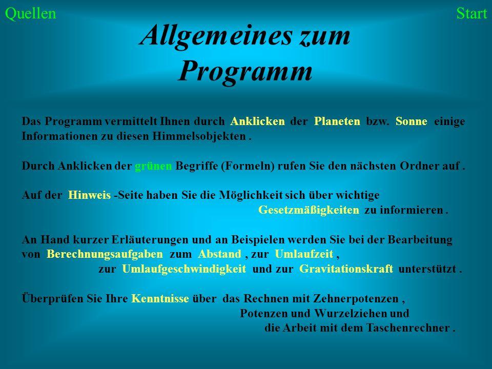 Allgemeines zum Programm
