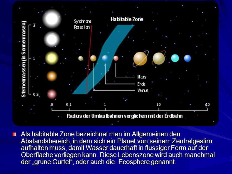 Als habitable Zone bezeichnet man im Allgemeinen den Abstandsbereich, in dem sich ein Planet von seinem Zentralgestirn aufhalten muss, damit Wasser dauerhaft in flüssiger Form auf der Oberfläche vorliegen kann.