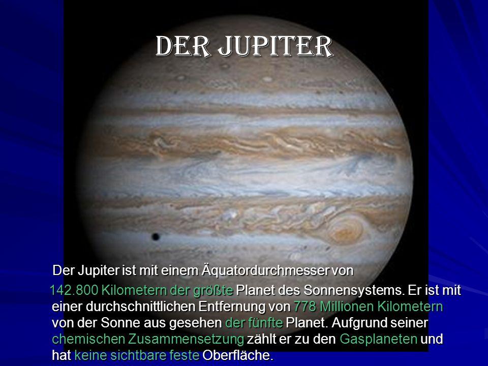 Der Jupiter Der Jupiter ist mit einem Äquatordurchmesser von