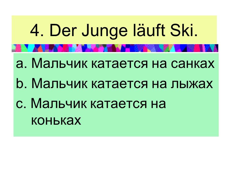 4. Der Junge läuft Ski. a. Мальчик катается на санках