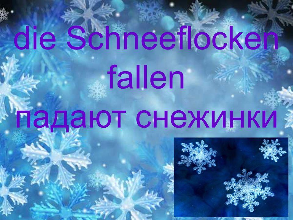 die Schneeflocken fallen