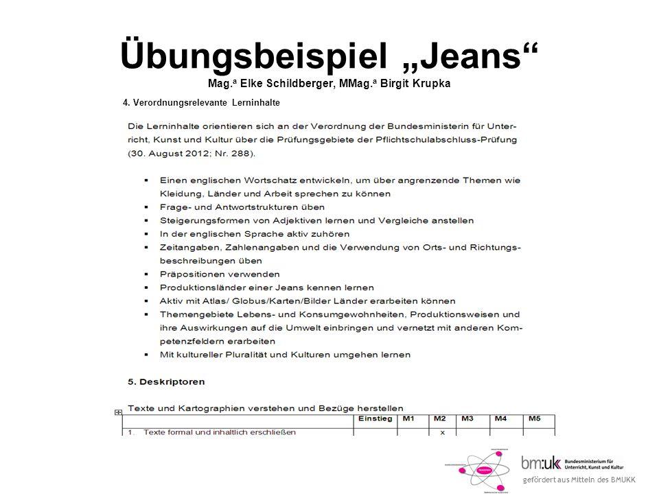 """Übungsbeispiel """"Jeans Mag.a Elke Schildberger, MMag.a Birgit Krupka"""