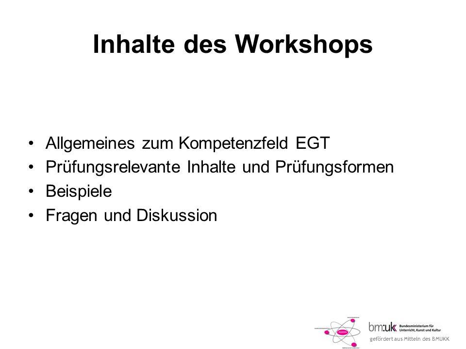 Inhalte des Workshops Allgemeines zum Kompetenzfeld EGT
