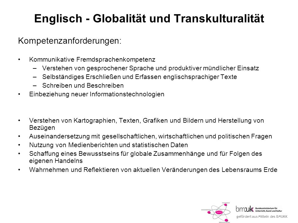 Englisch - Globalität und Transkulturalität