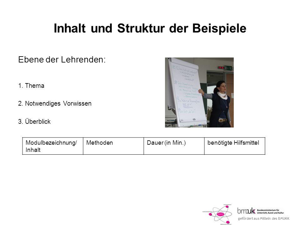 Inhalt und Struktur der Beispiele