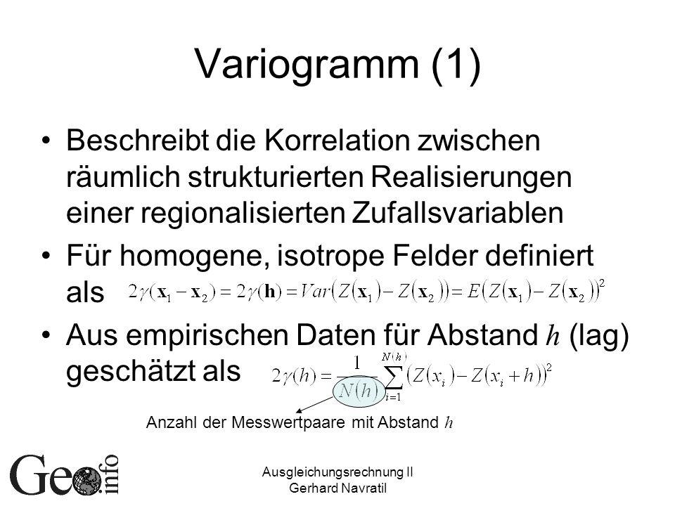 Variogramm (1) Beschreibt die Korrelation zwischen räumlich strukturierten Realisierungen einer regionalisierten Zufallsvariablen.