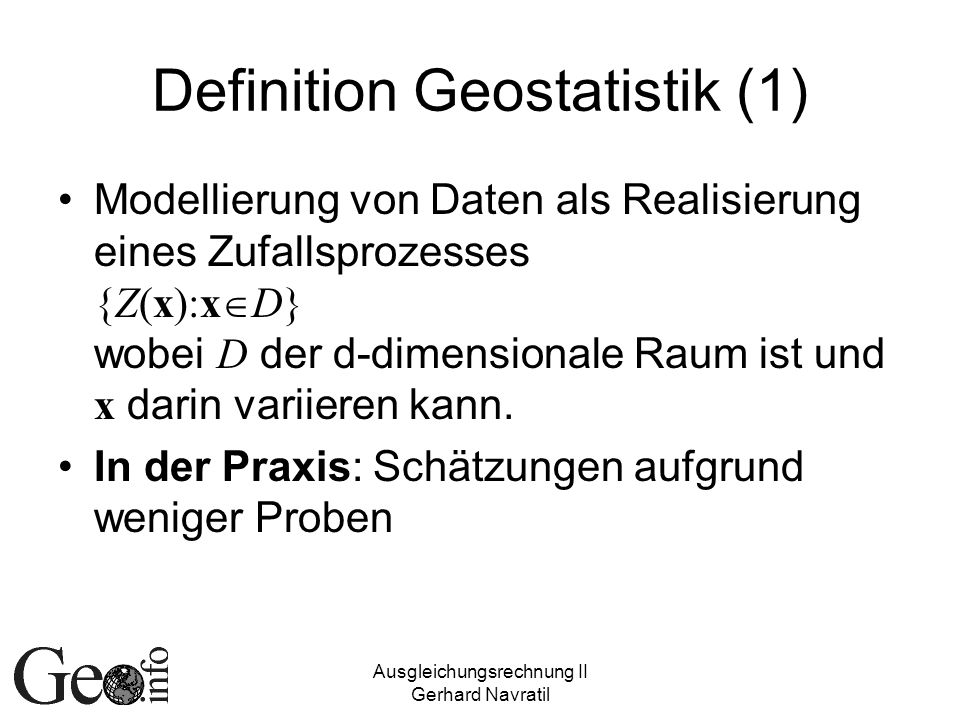 Definition Geostatistik (1)
