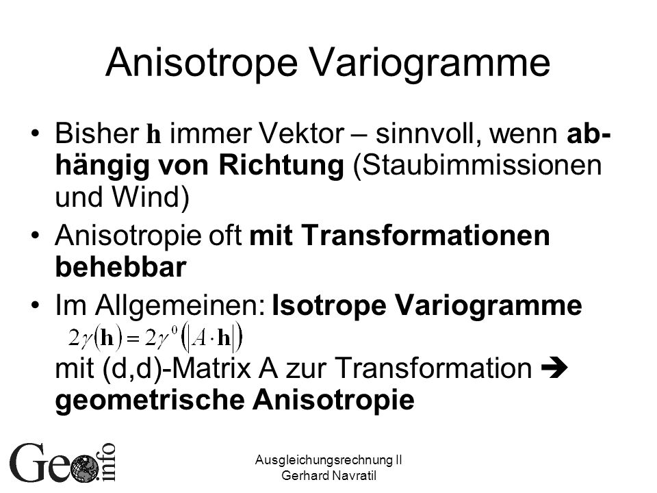 Anisotrope Variogramme