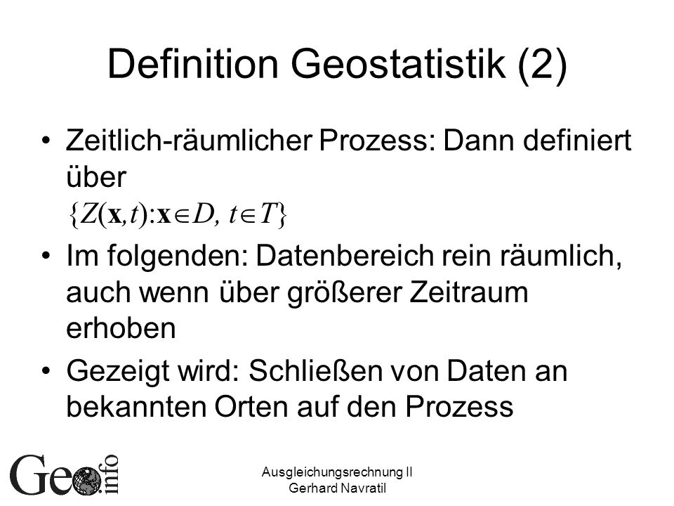 Definition Geostatistik (2)
