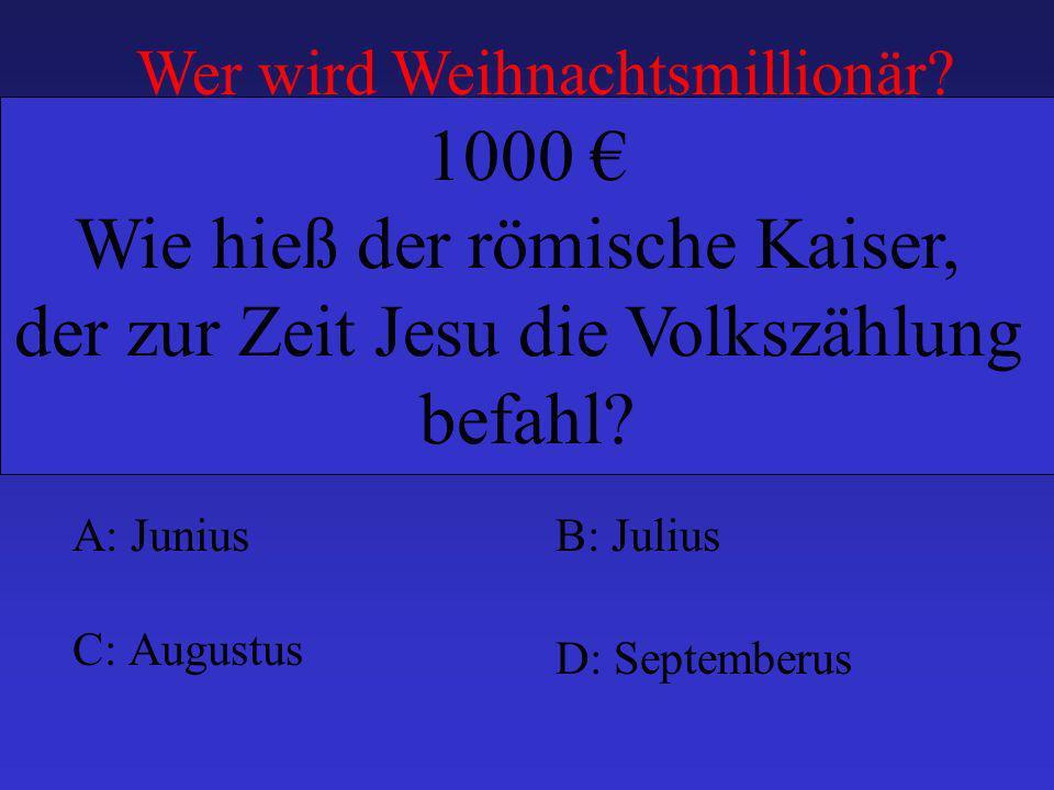 Wie hieß der römische Kaiser, der zur Zeit Jesu die Volkszählung