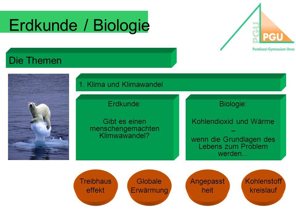 Erdkunde / Biologie Die Themen 1. Klima und Klimawandel Erdkunde: