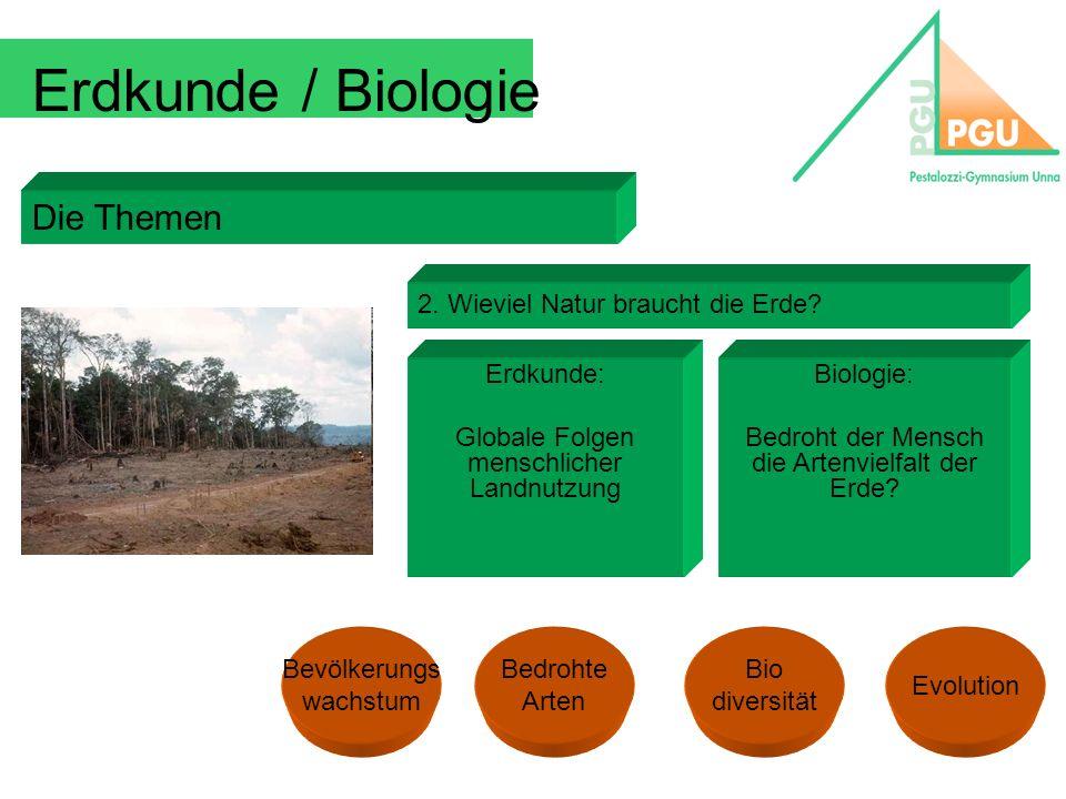 Erdkunde / Biologie Die Themen 2. Wieviel Natur braucht die Erde