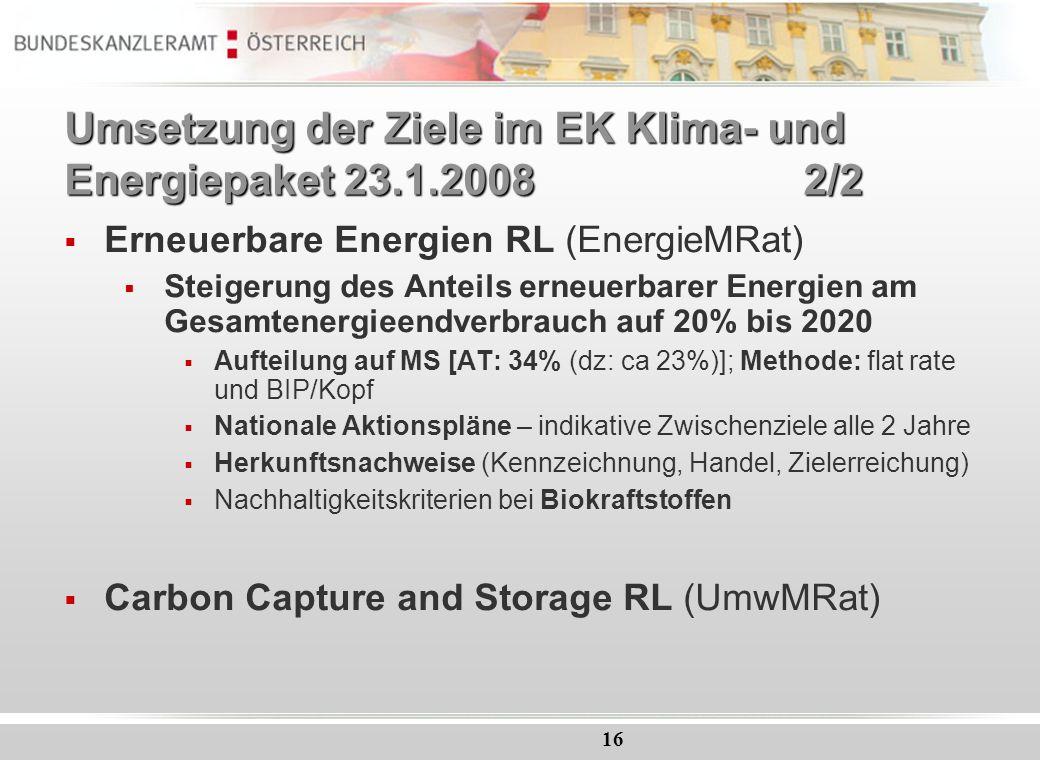 Umsetzung der Ziele im EK Klima- und Energiepaket 23.1.2008 2/2