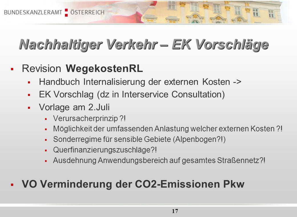 Nachhaltiger Verkehr – EK Vorschläge