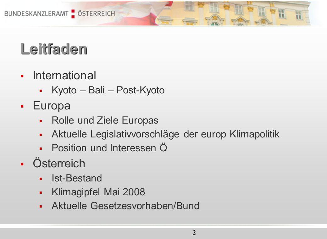 Leitfaden International Europa Österreich Kyoto – Bali – Post-Kyoto